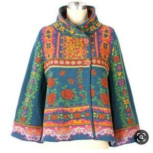 Anthropologie IVKO Rare Wool Floral Sweater Coat